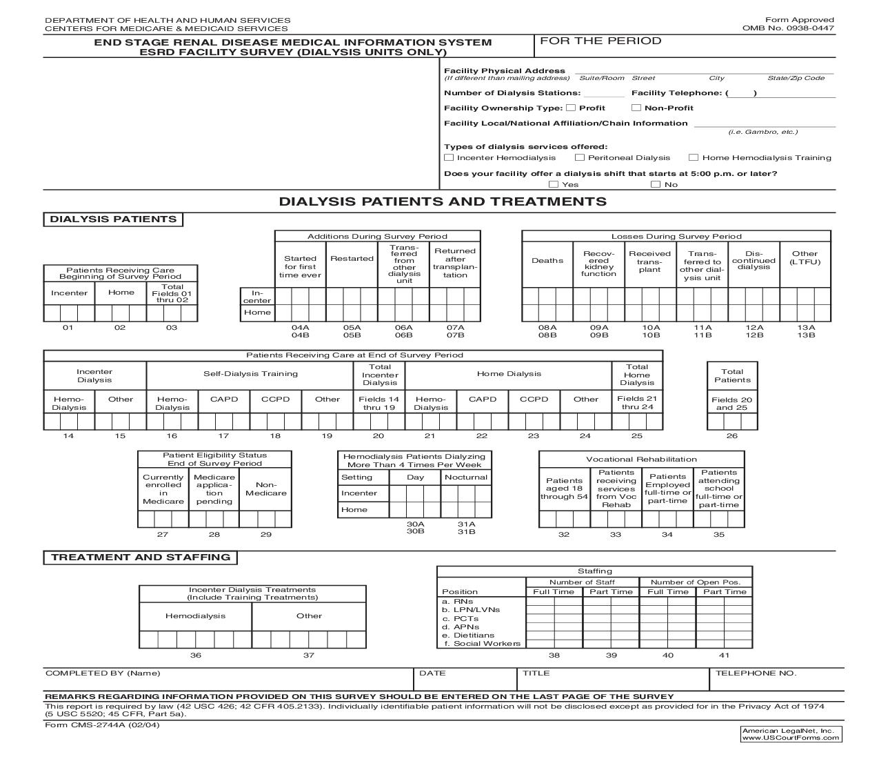 End Stage Renal Disease Medical Information System ESRD Facility Survey (Dialysis Units Only) {CMS-2744A} | Pdf Fpdf Doc Docx | Official Federal Forms