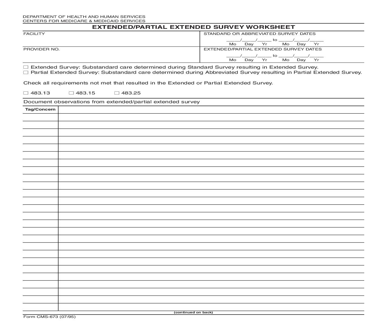 Extended-Partial Extended Survey Worksheet {CMS-673} | Pdf Fpdf Doc Docx | Official Federal Forms