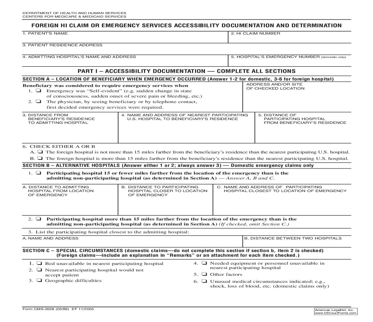 Foreign HI Claim Or Emergency Services Accessibility Documentation And Determination {CMS-2628} | Pdf Fpdf Doc Docx | Official Federal Forms