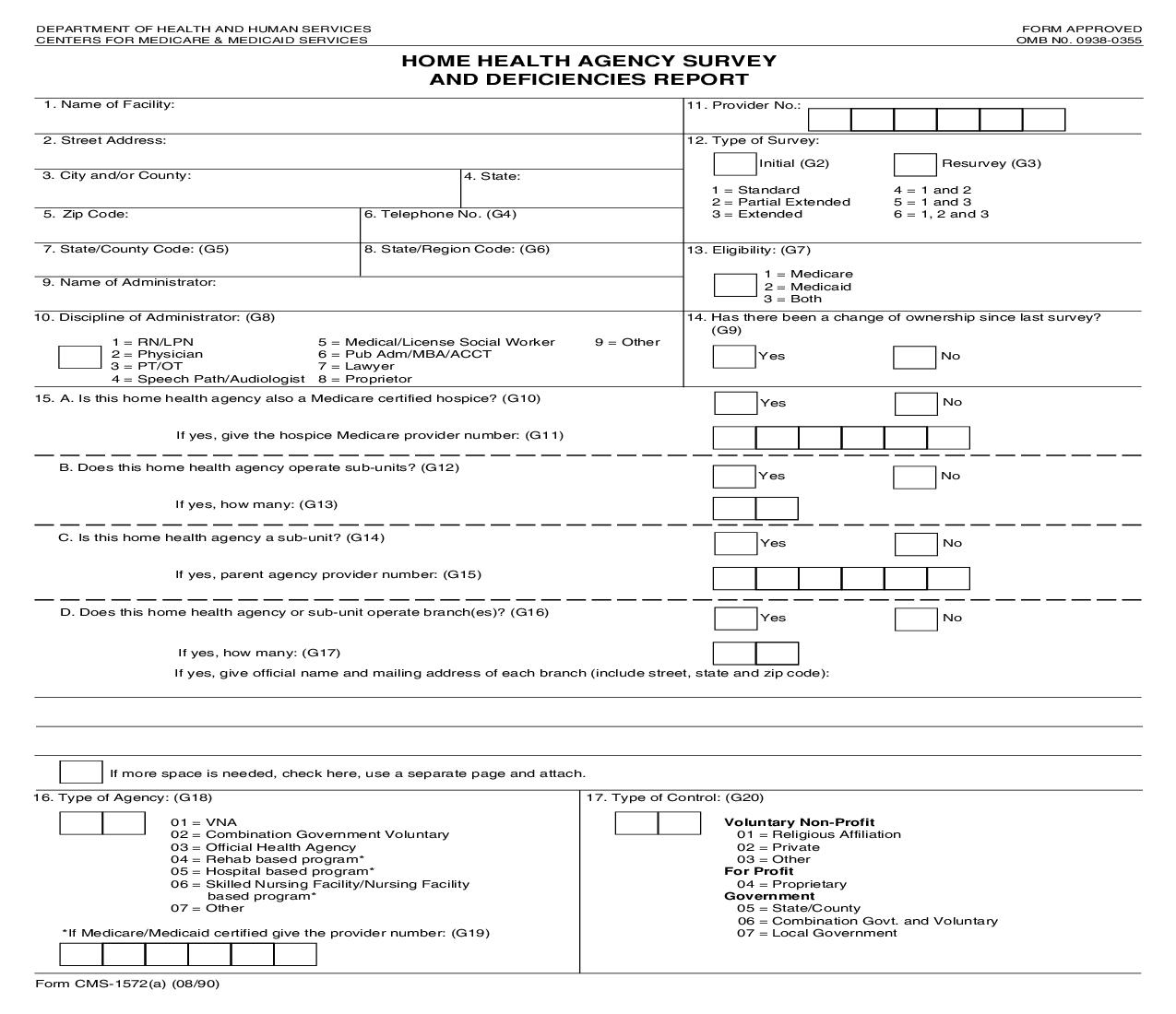 HHA Survey And Deficiencies Report {CMS-1572} | Pdf Fpdf Doc Docx | Official Federal Forms