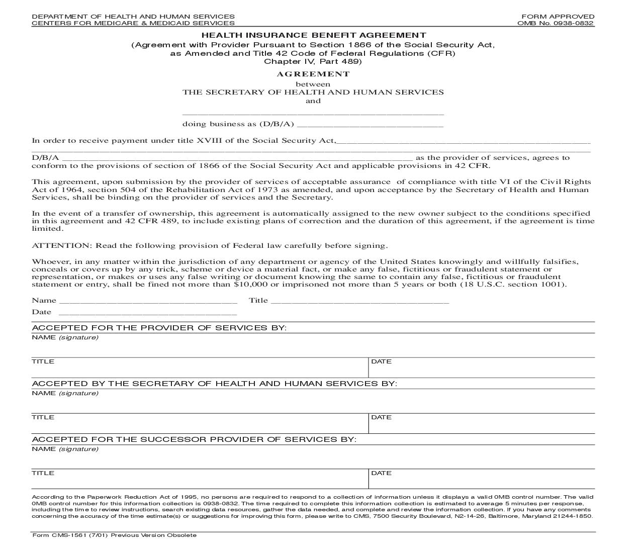 Health Insurance Benefit Agreement {CMS-1561} | Pdf Fpdf Doc Docx | Official Federal Forms