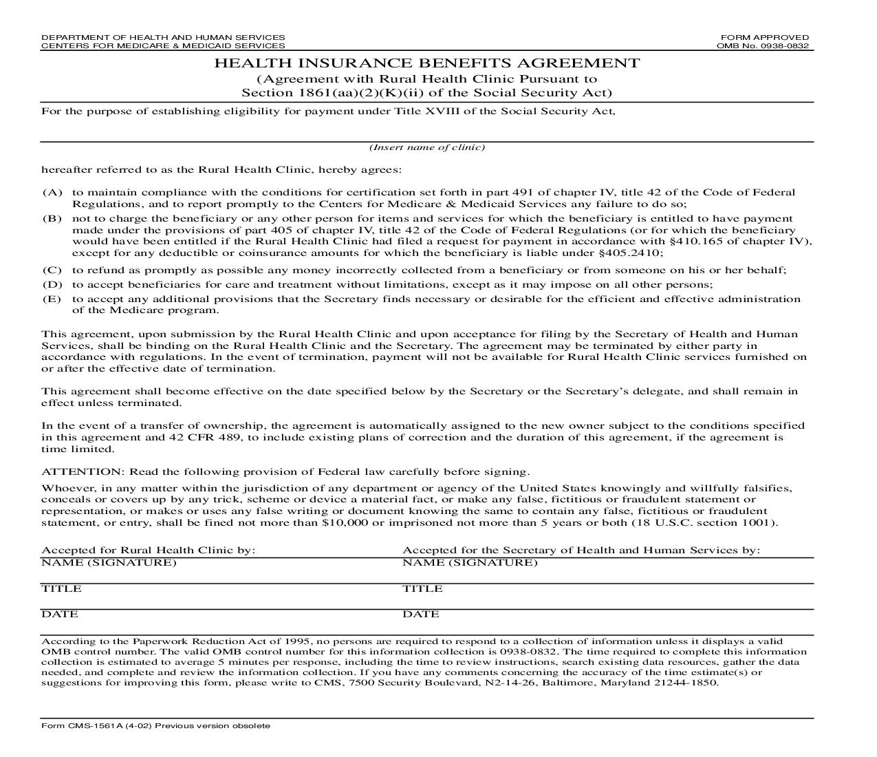 Health Insurance Benefits Agreement {CMS-1561A} | Pdf Fpdf Doc Docx | Official Federal Forms
