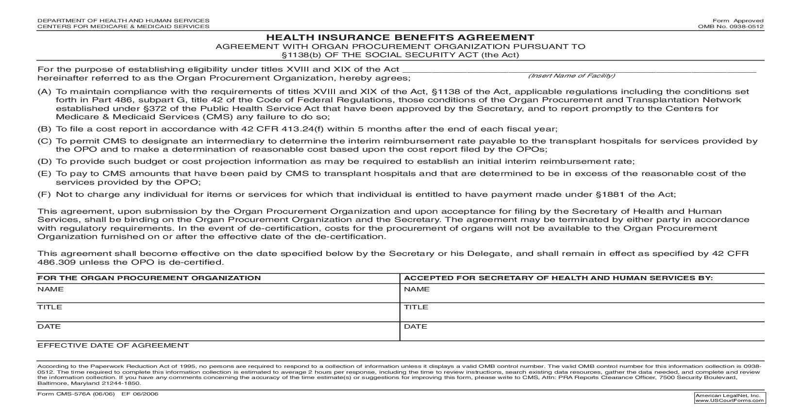 Health Insurance Benefits Agreement With Organ Procurement Organization Pusuant To 1138(b) {CMS-576A} | Pdf Fpdf Doc Docx | Official Federal Forms