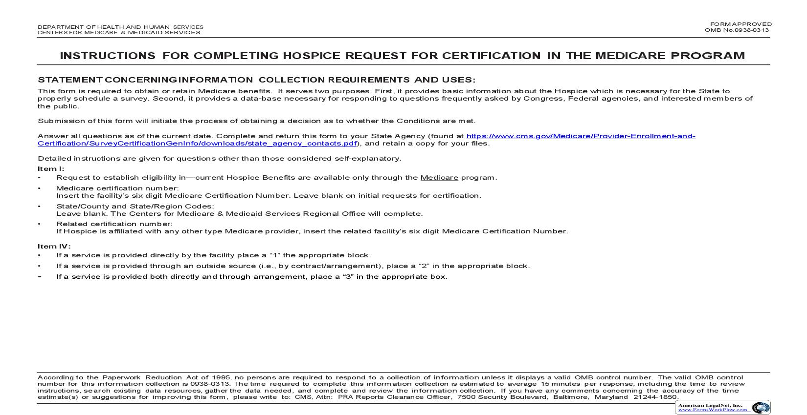 Hospice Request For Certification In The Medicare Program {CMS-417}   Pdf Fpdf Doc Docx   Official Federal Forms