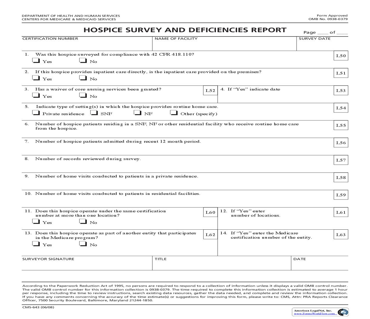 Hospice Survey And Deficiencies Report {CMS-643} | Pdf Fpdf Doc Docx | Official Federal Forms