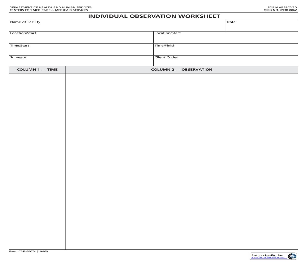 Individual Observation Worksheet {CMS-3070I} | Pdf Fpdf Doc Docx | Official Federal Forms