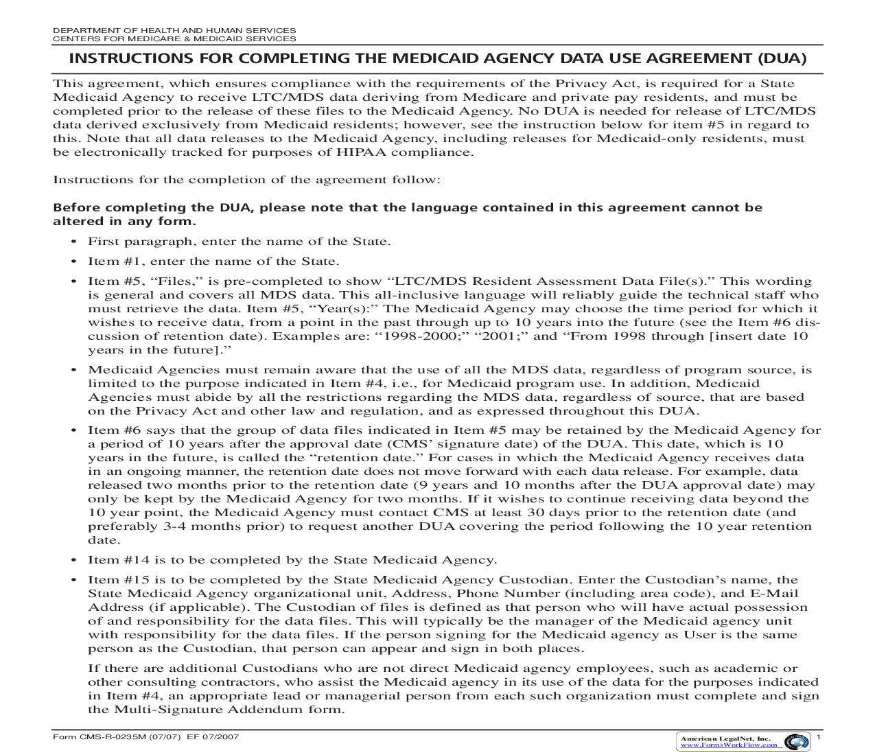 Medicaid Agency Data Use Agreement {CMS-R-0235M} | Pdf Fpdf Doc Docx | Official Federal Forms