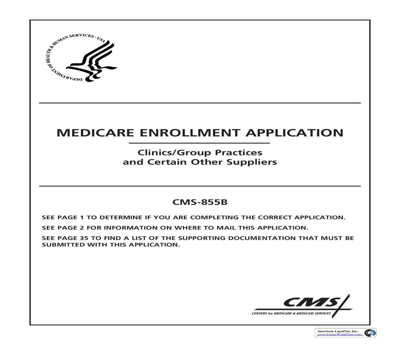 Medicare Enrollment Application Clinics-Group Practices And Certain Other Suppliers {CMS-855B} | Pdf Fpdf Doc Docx | Official Federal Forms