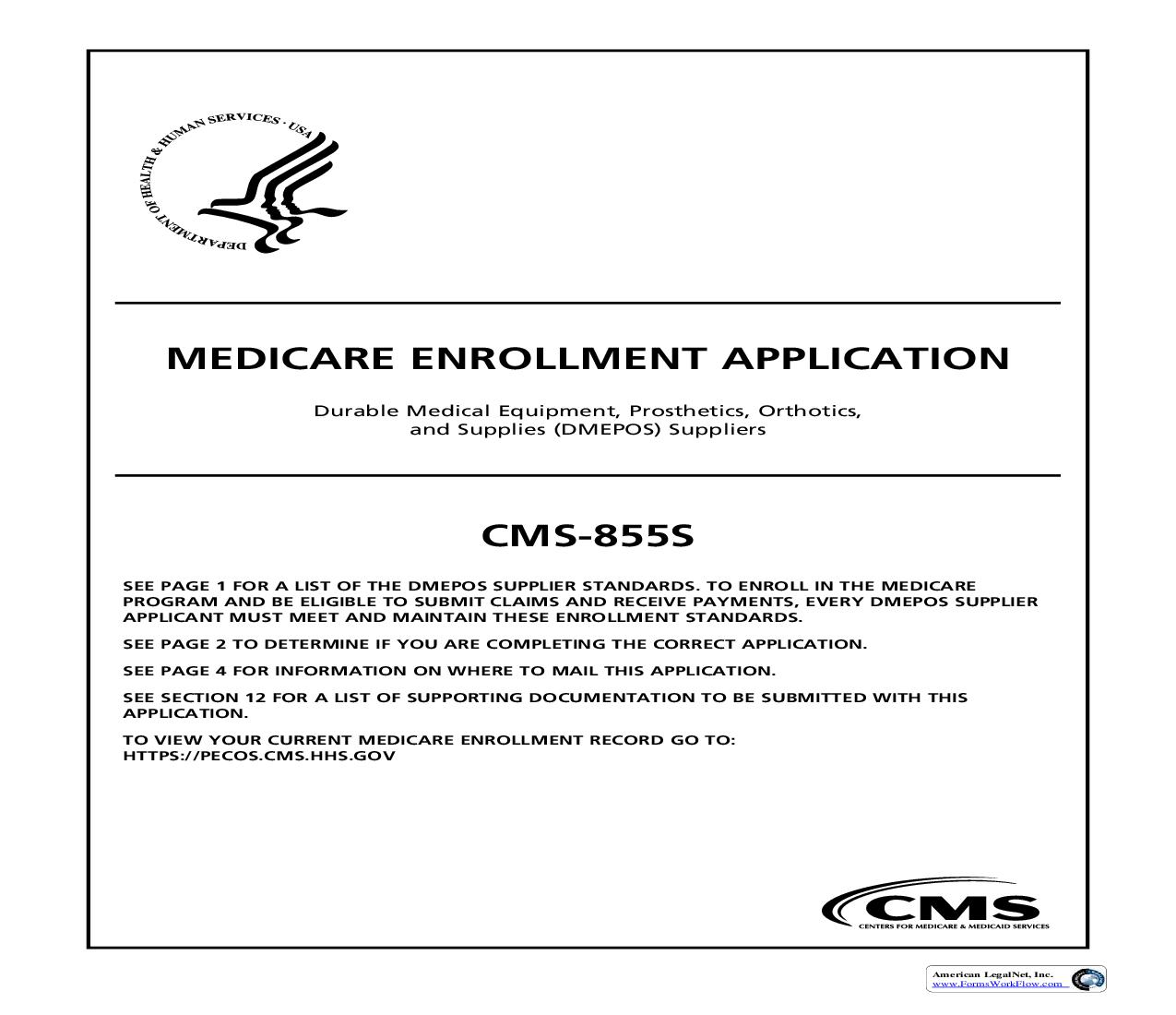 Medicare Enrollment Application Durable Medical Equipment Prosthetics Orthotics And Supplies (DMEPOS) Supplier {CMS-855S} | Pdf Fpdf Doc Docx | Official Federal Forms