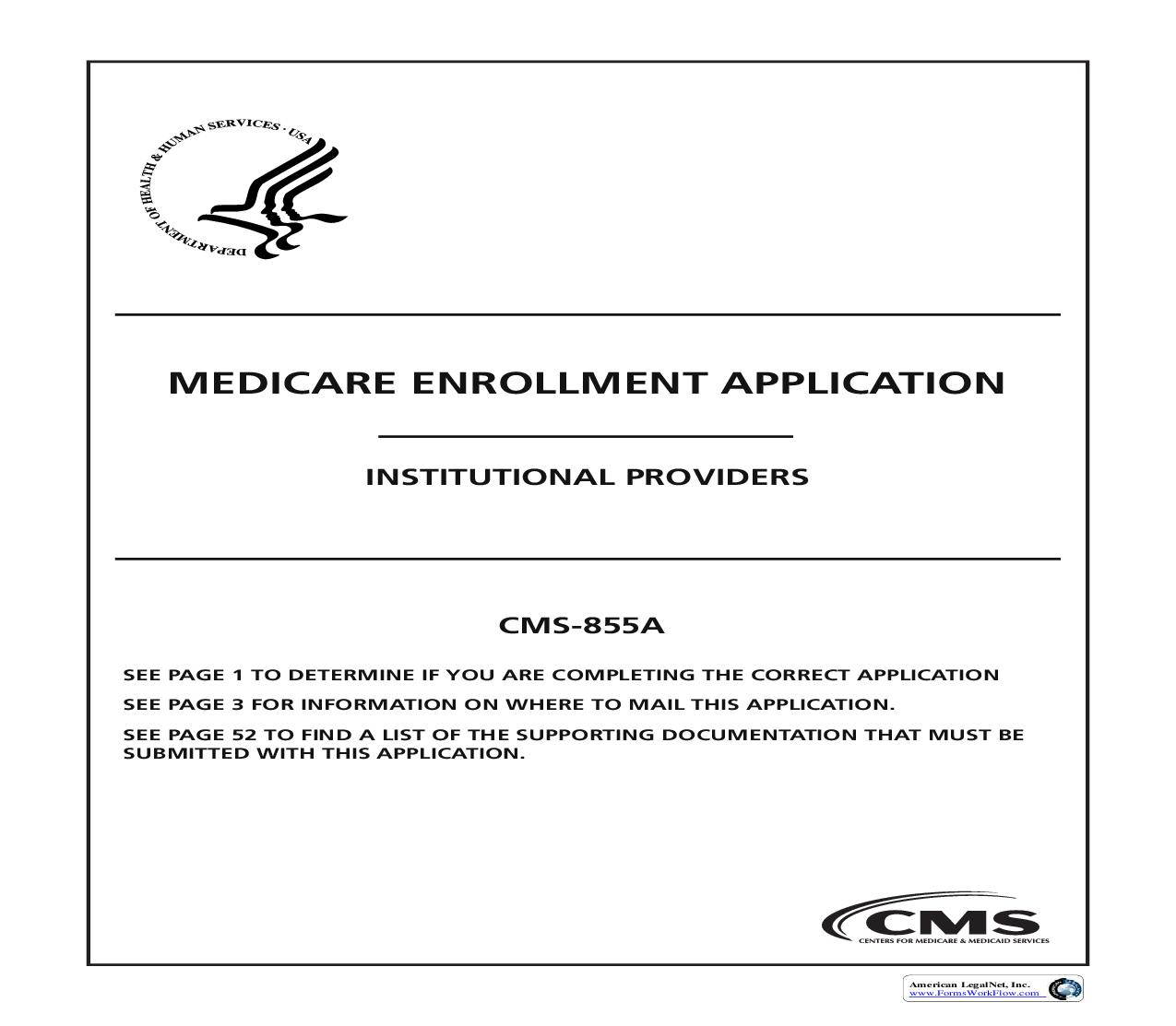 Medicare Enrollment Application Institutional Providers {CMS-855A} | Pdf Fpdf Doc Docx | Official Federal Forms