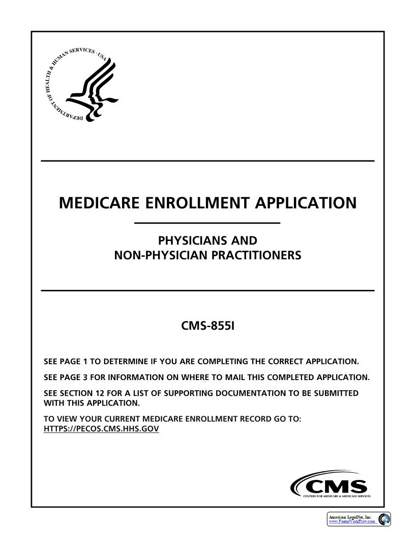 Medicare Enrollment Application Physicians And Non-Physician Practitioners {CMS 855I} | Pdf Fpdf Doc Docx | Official Federal Forms