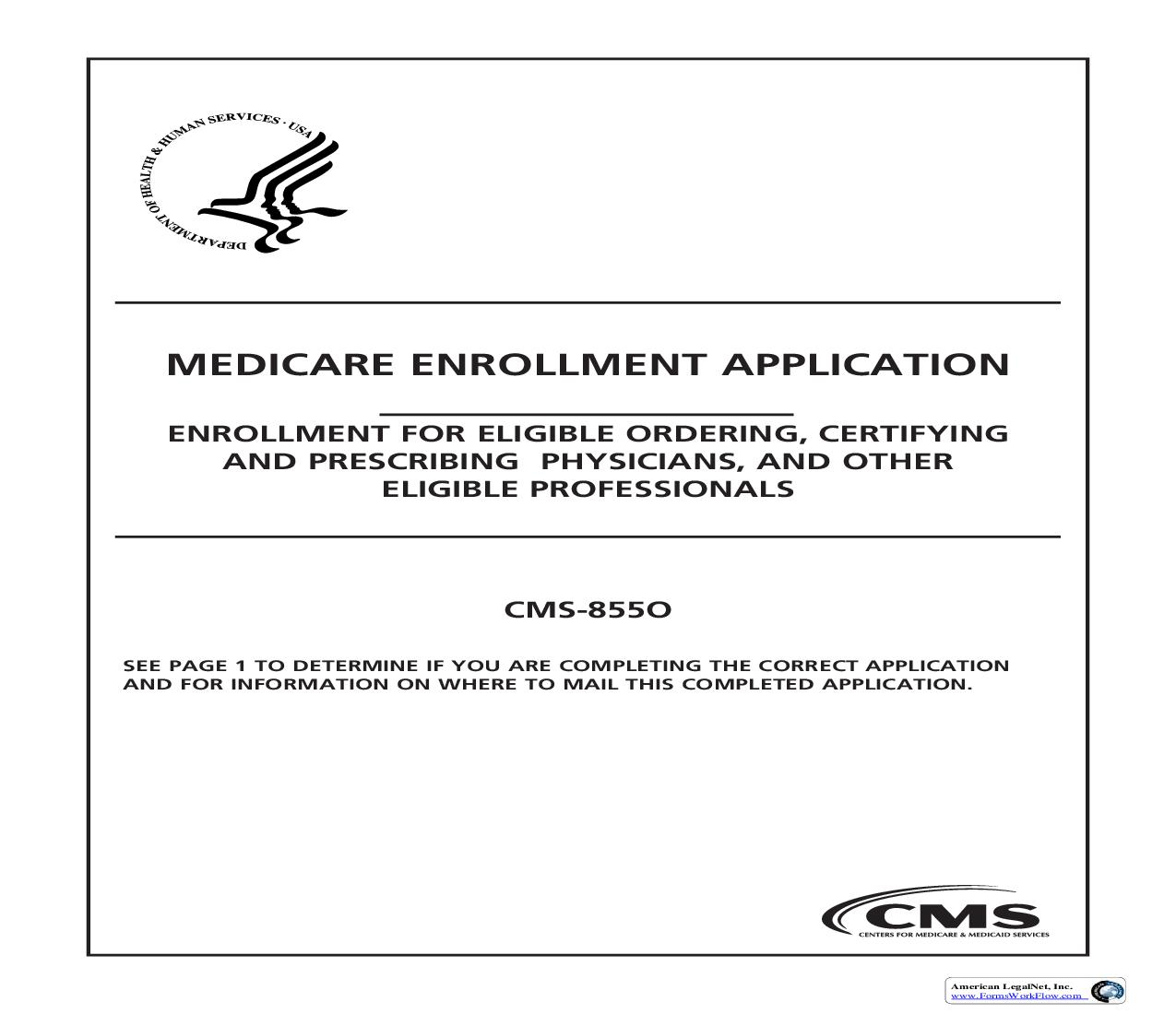 Medicare Enrollment Application-For Eligible Ordering And Referring Physicians And Non-Physician Practitioners {CMS-855O} | Pdf Fpdf Doc Docx | Official Federal Forms