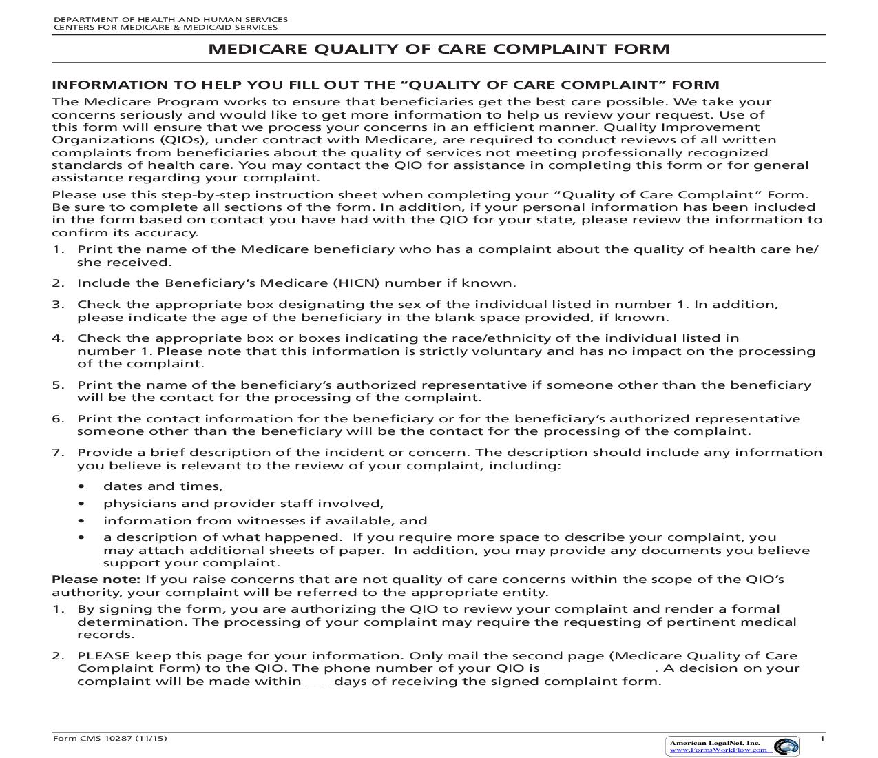 Medicare Quality Of Care Complaint Form {CMS-10287} | Pdf Fpdf Doc Docx | Official Federal Forms