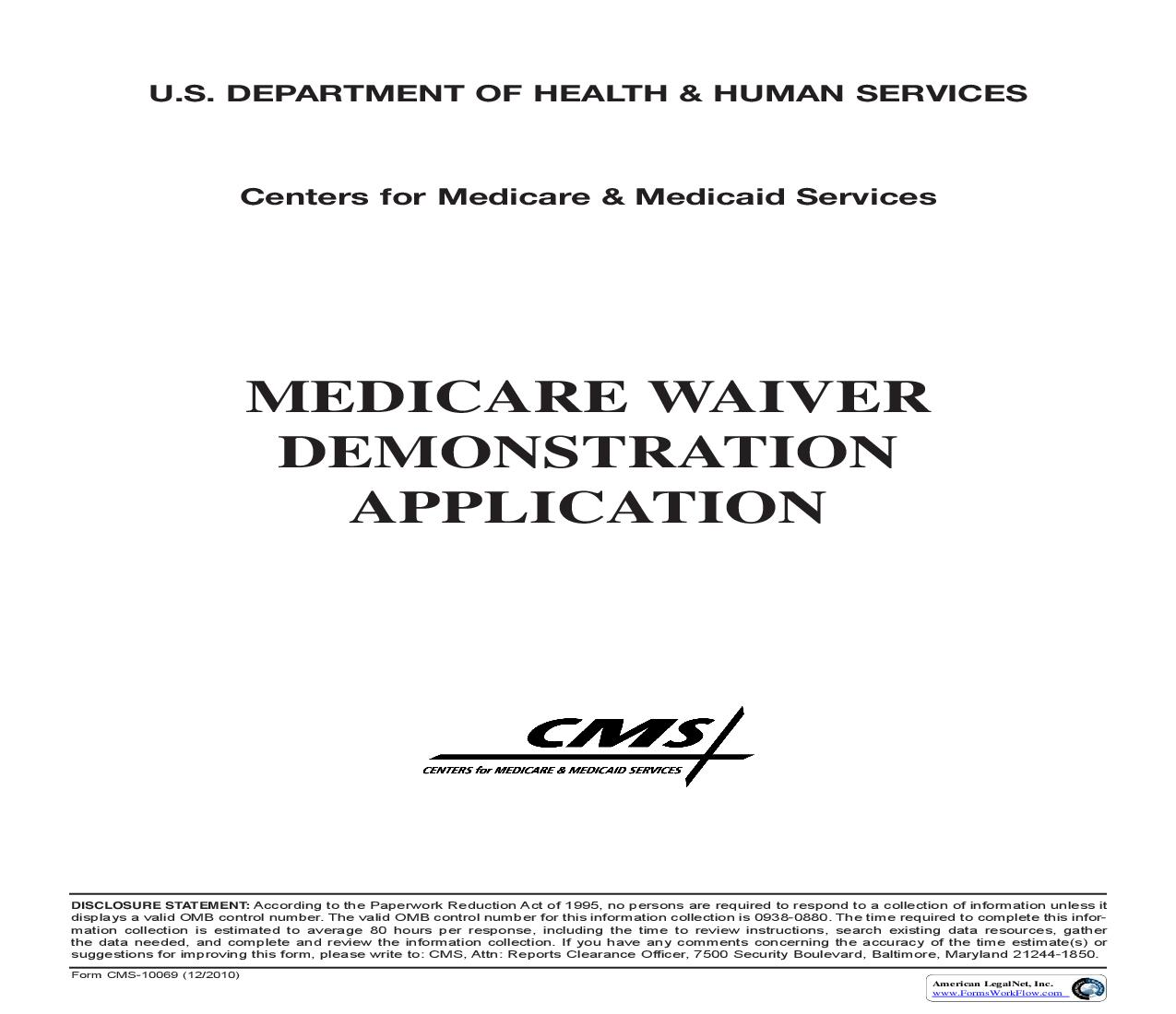 Medicare Waiver Demonstration Application {CMS-10069} | Pdf Fpdf Doc Docx | Official Federal Forms