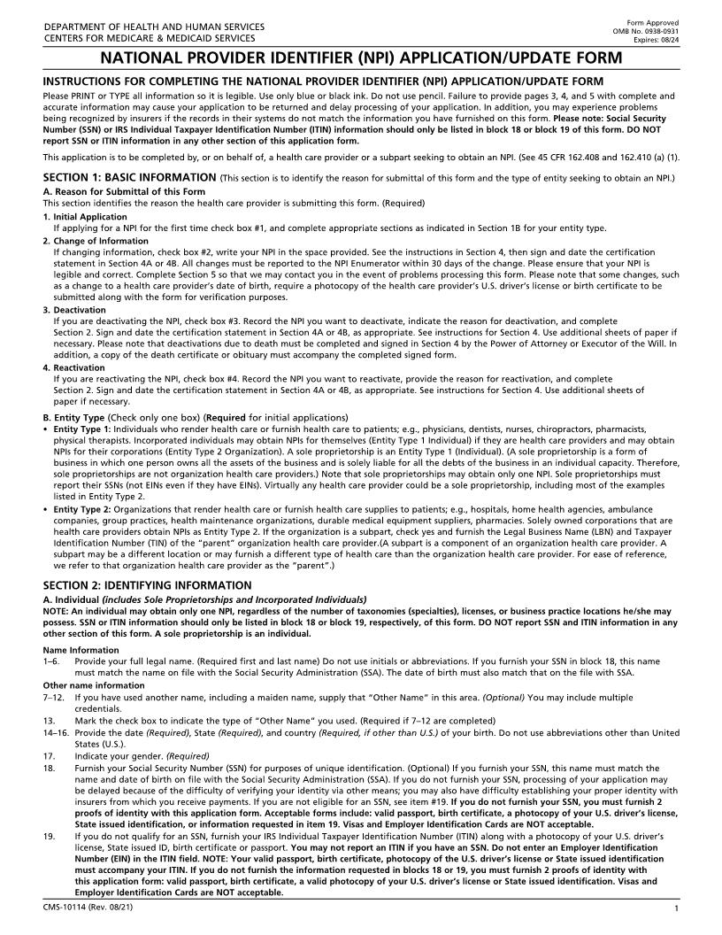 National Provider Identifier (NPI) Application-Update Form {CMS-10114} | Pdf Fpdf Docx | Official Federal Forms