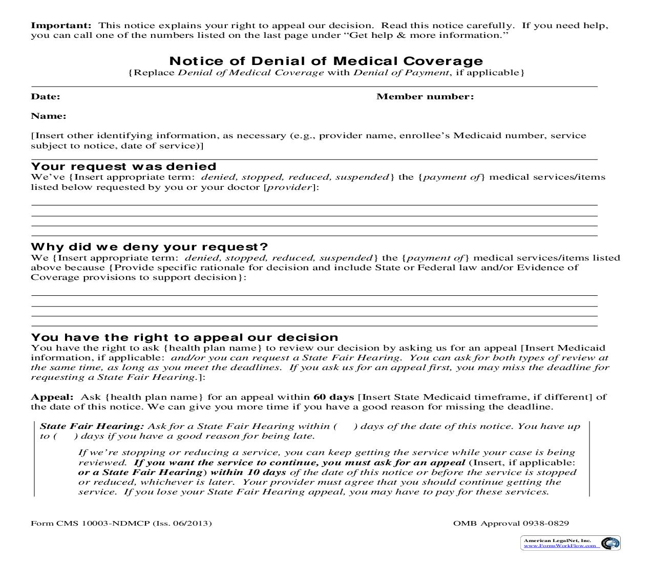 Notice Of Denial Of Medical Coverage {CMS-10003-NDMC}   Pdf Fpdf Doc Docx   Official Federal Forms