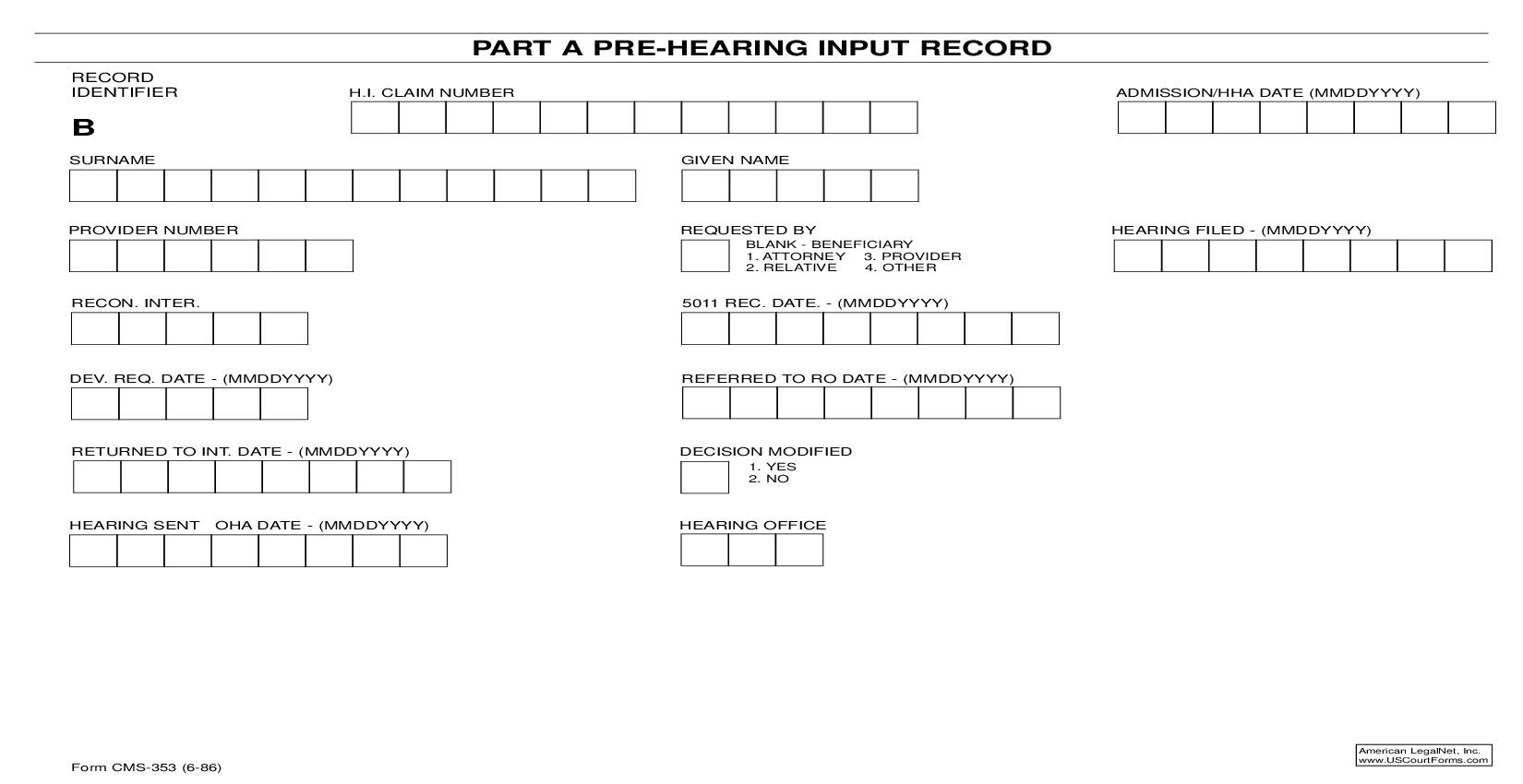 Part A Pre-Hearing Input Record {CMS-353} | Pdf Fpdf Doc Docx | Official Federal Forms