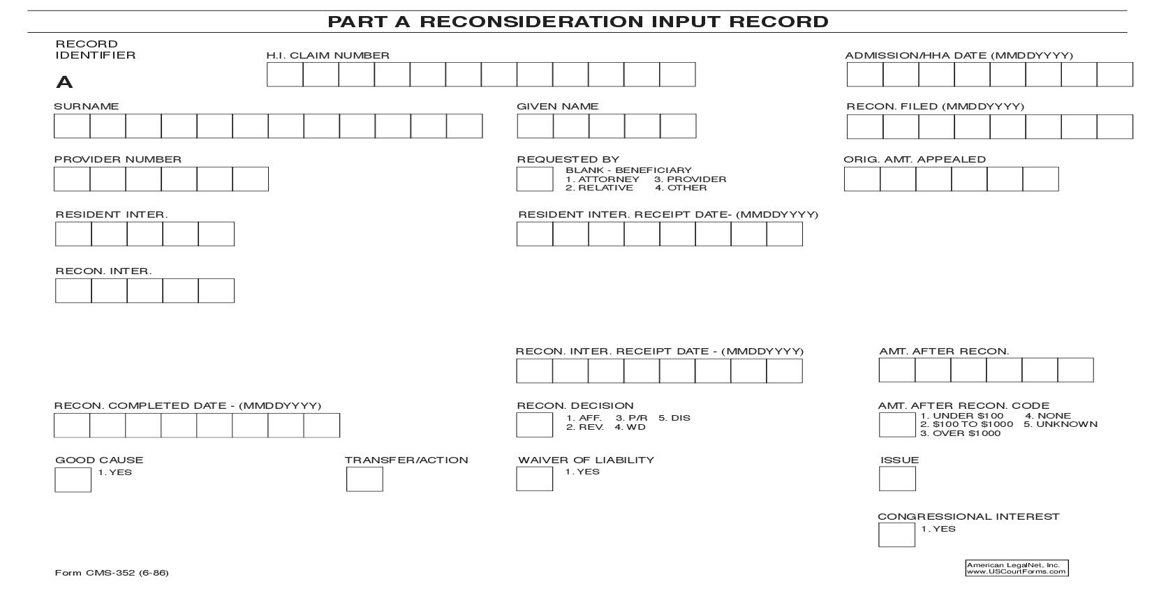 Part A Reconsideration Input Record {CMS-352} | Pdf Fpdf Doc Docx | Official Federal Forms
