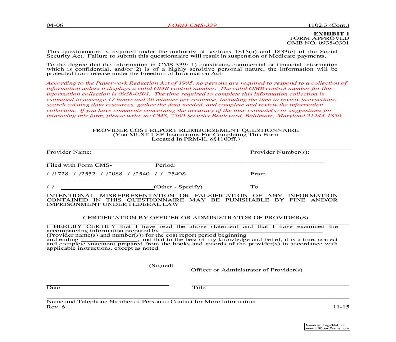 Provider Cost Report Reimbursment Questionaire {CMS-339} | Pdf Fpdf Doc Docx | Official Federal Forms