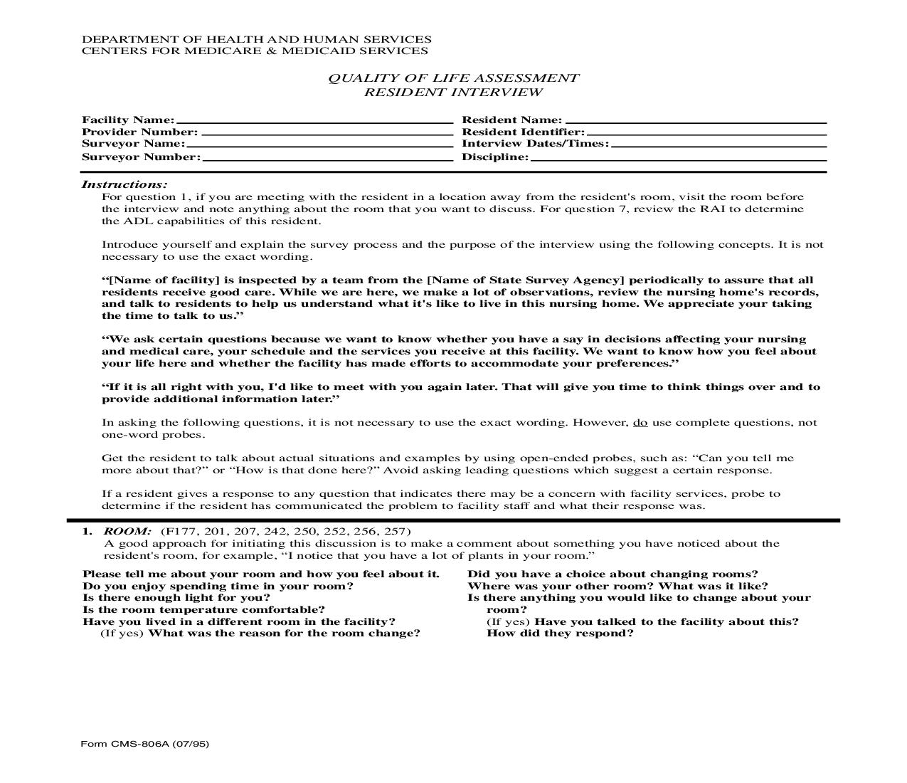 Quality Of Life Assessment Resident Interview {CMS-806A} | Pdf Fpdf Doc Docx | Official Federal Forms