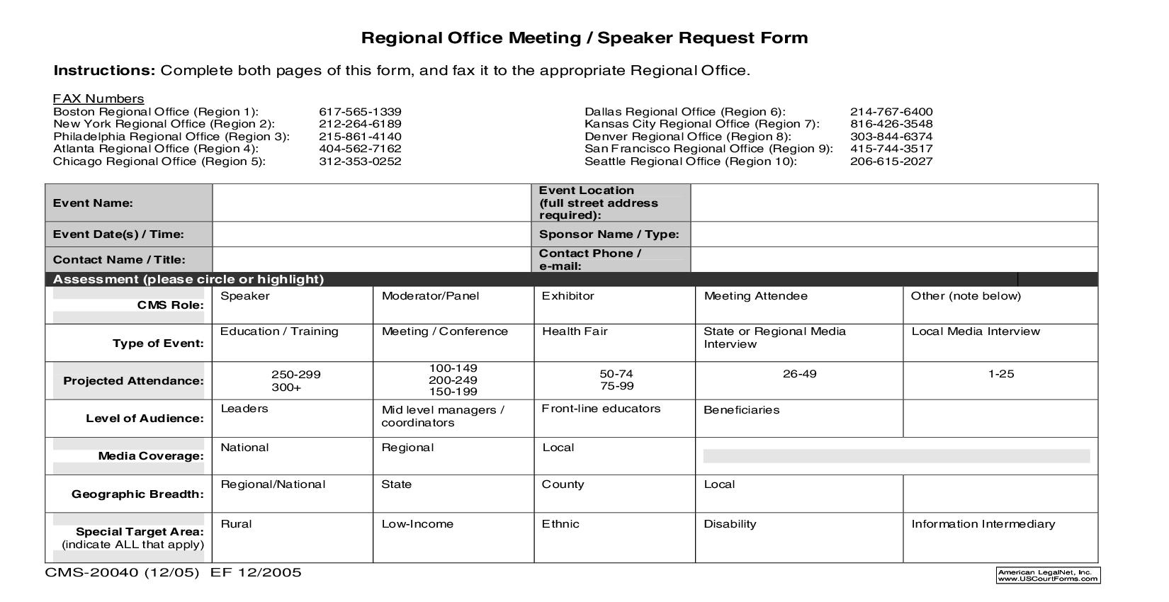 Regional Office Meeting-Speaker Request Form {CMS-20040} | Pdf Fpdf Doc Docx | Official Federal Forms