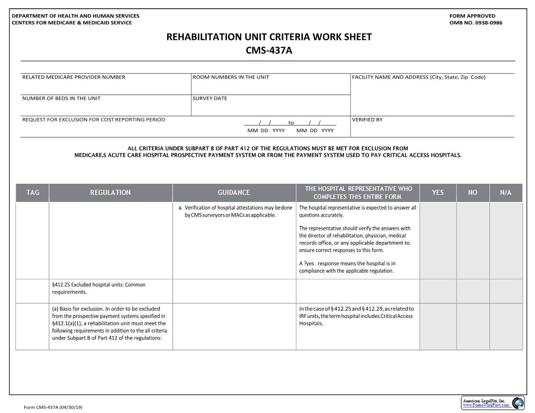 Rehab Unit Criteria Worksheet {CMS-437A} | Pdf Fpdf Docx | Official Federal Forms