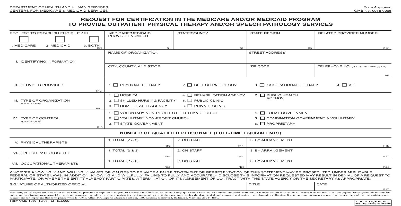 Request For Certification In The Medicare And-Or Medicaid Program To Provide Outpatient Physical Therapy {CMS-1856}   Pdf Fpdf Doc Docx   Official Federal Forms