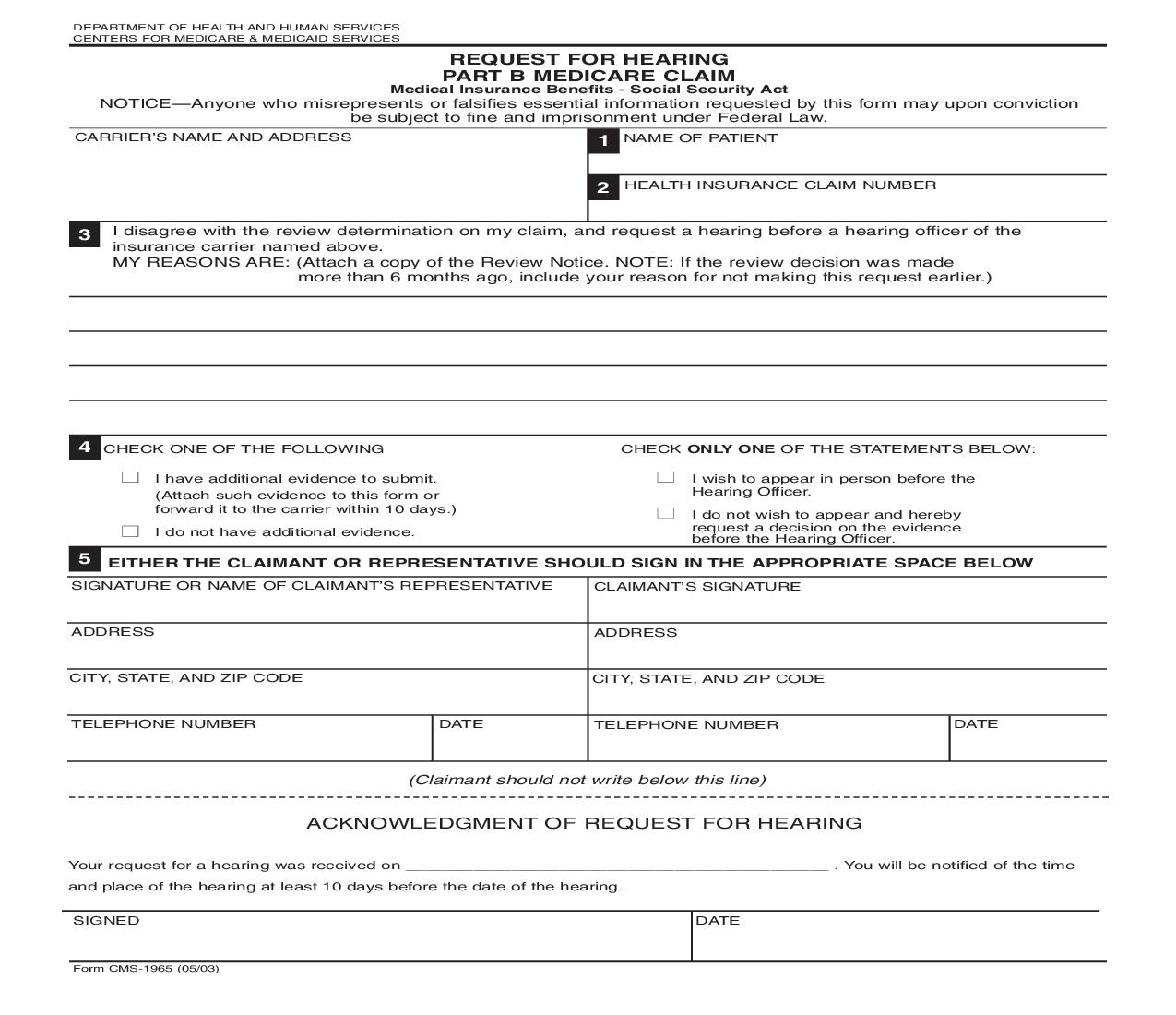 Request For Hearing Part B Medicare Claim {CMS-1965} | Pdf Fpdf Doc Docx | Official Federal Forms