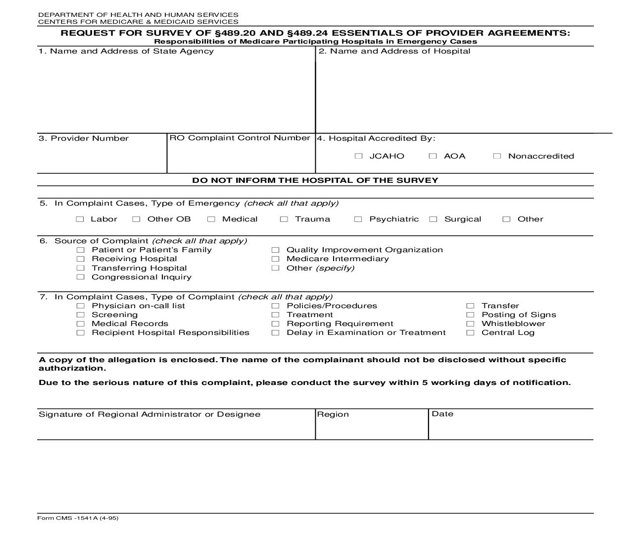 Request For Survey Of 489.20 And 489.24 Essentials Of Provider Agreements {CMS-1541A}   Pdf Fpdf Doc Docx   Official Federal Forms