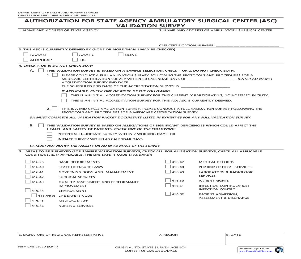 Request For Validation OF Accrediation Survey For Ambulatory Surgical Center (ASC) {CMS-2802D} | Pdf Fpdf Doc Docx | Official Federal Forms