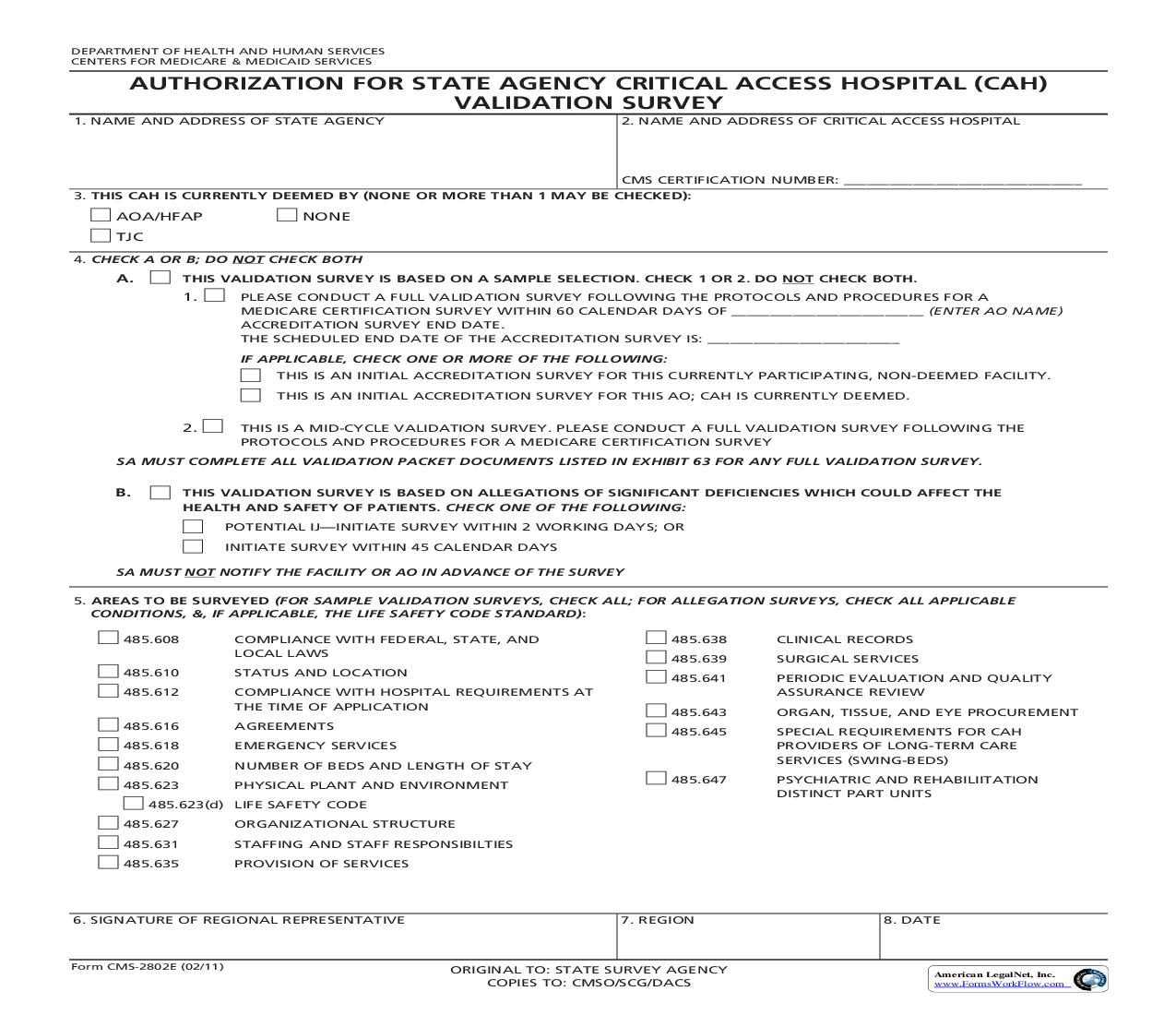 Request For Validation Of Accreditation For Critical Access Hospital Survey {CMS-2802E} | Pdf Fpdf Doc Docx | Official Federal Forms