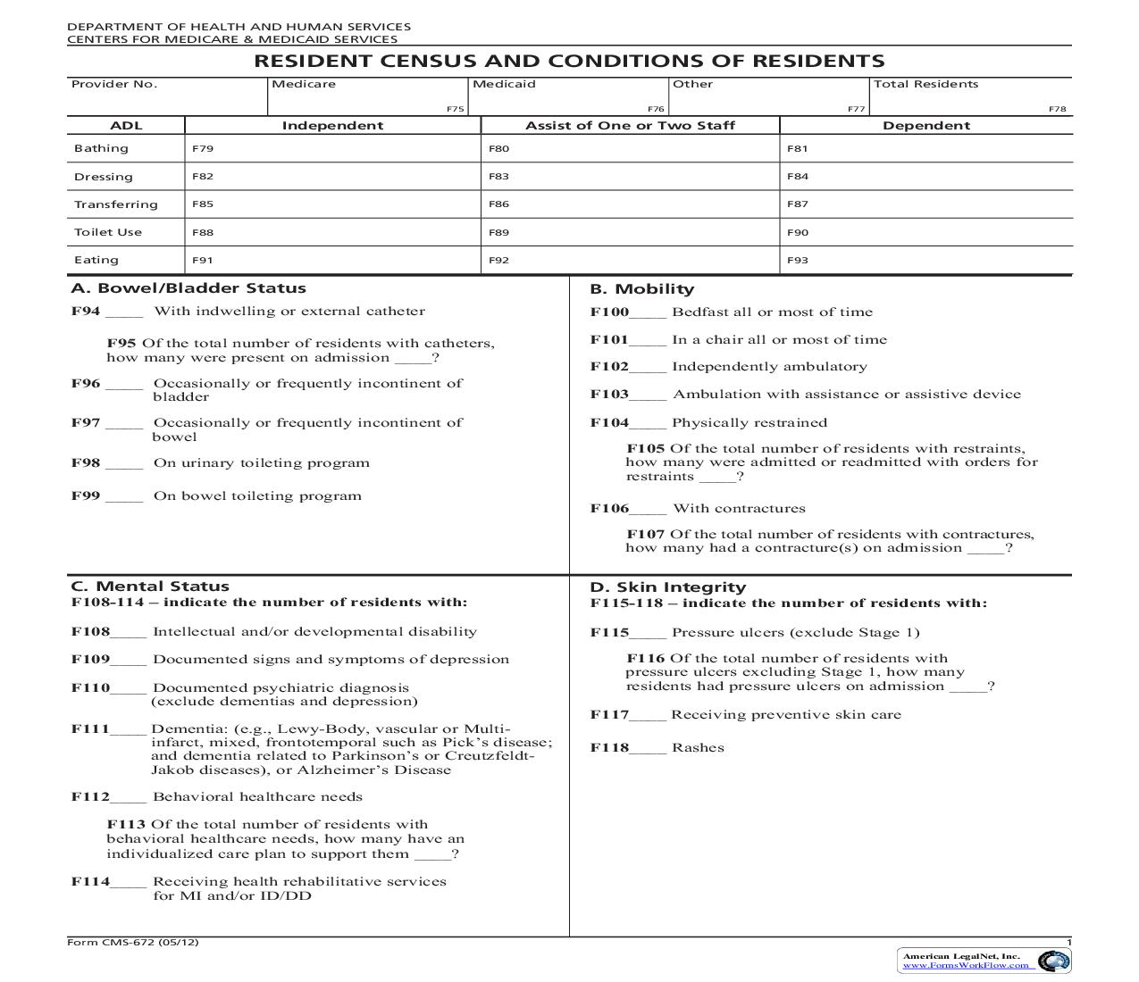 Resident Census And Conditions Of Residents {CMS-672} | Pdf Fpdf Doc Docx | Official Federal Forms