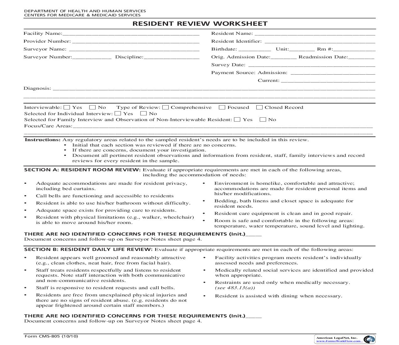 Resident Review Worksheet {CMS-805} | Pdf Fpdf Doc Docx | Official Federal Forms