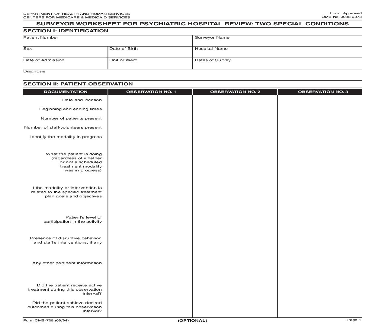 Surveyor Worksheet For Pyschiatric Hospital Review Two Special Conditions {CMS-725} | Pdf Fpdf Doc Docx | Official Federal Forms