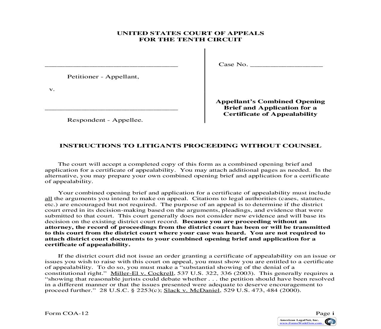 Appellants Combined Opening Brief And Application For Certificate Of Appealability {COA-12} | Pdf Fpdf Doc Docx | Official Federal Forms