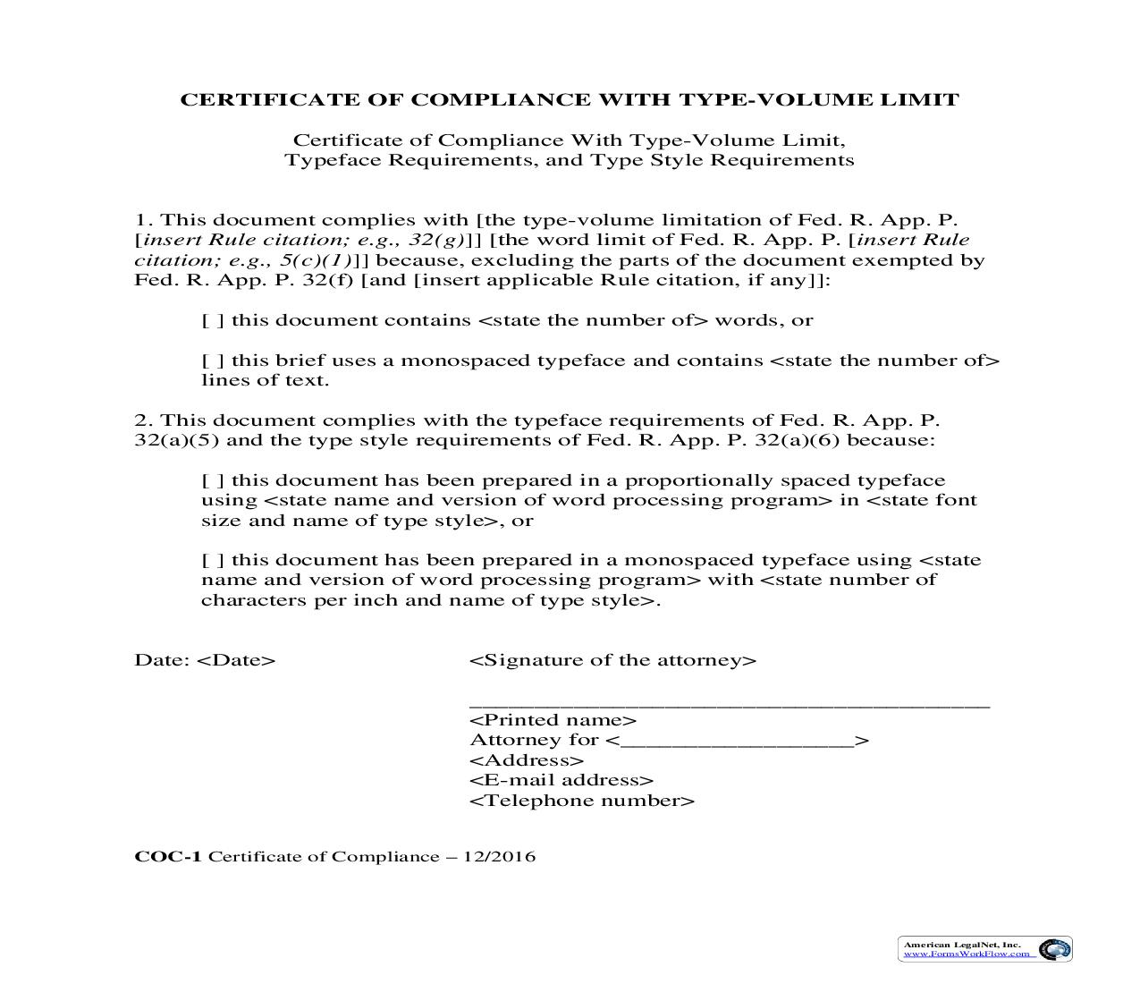 Certificate Of Compliance {COC-1}   Pdf Fpdf Doc Docx   Official Federal Forms