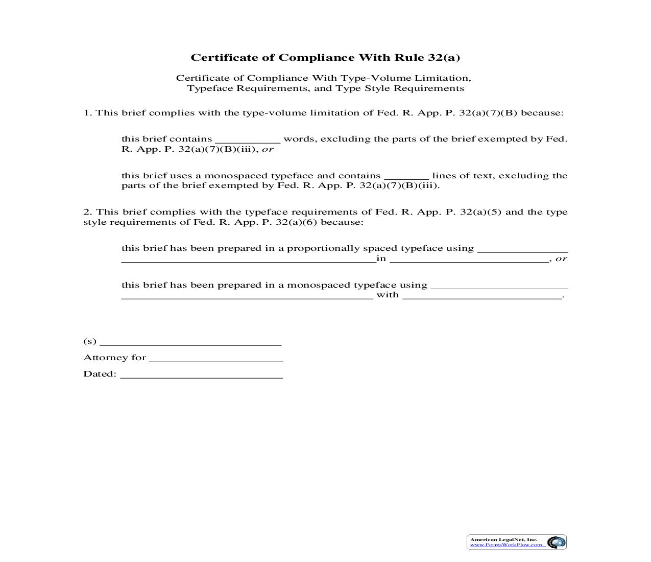 Certificate Of Compliance With Rule 32(a) {6} | Pdf Fpdf Doc Docx | Official Federal Forms