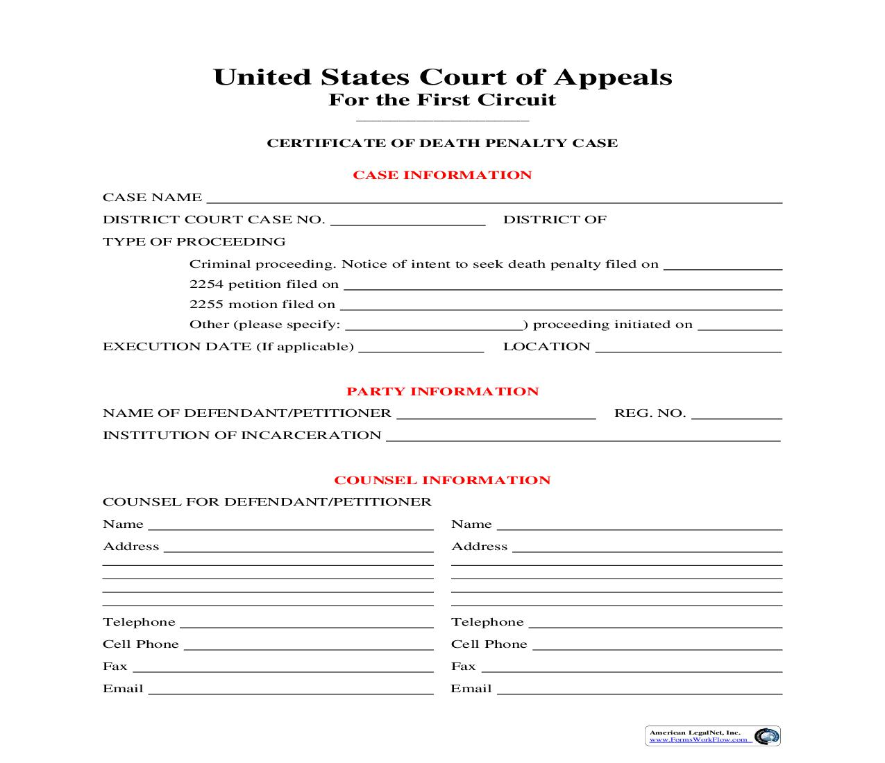Certificate Of Death Penalty Case   Pdf Fpdf Doc Docx   Official Federal Forms