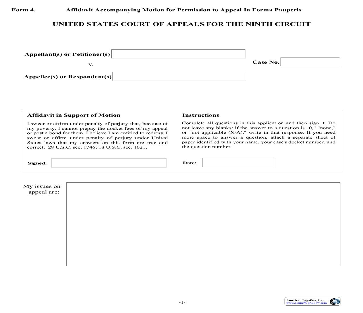 Form 4 Affidavit Accompanying Motion For Permission To Appeal In Forma Pauperis {4} | Pdf Fpdf Doc Docx | Official Federal Forms