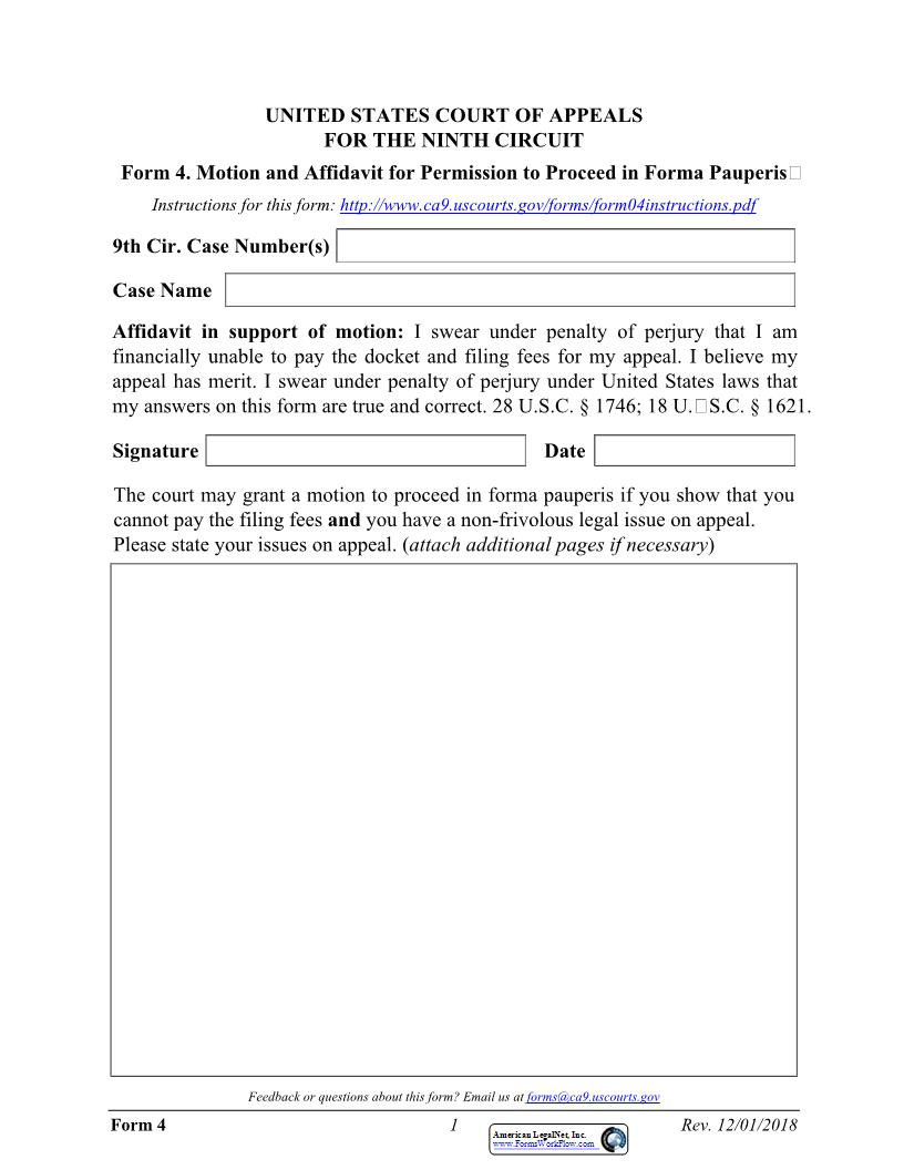 Form 4 Motion And Affidavit For Permission To Proceed In Forma Pauperis {4} | Pdf Fpdf Docx | Official Federal Forms