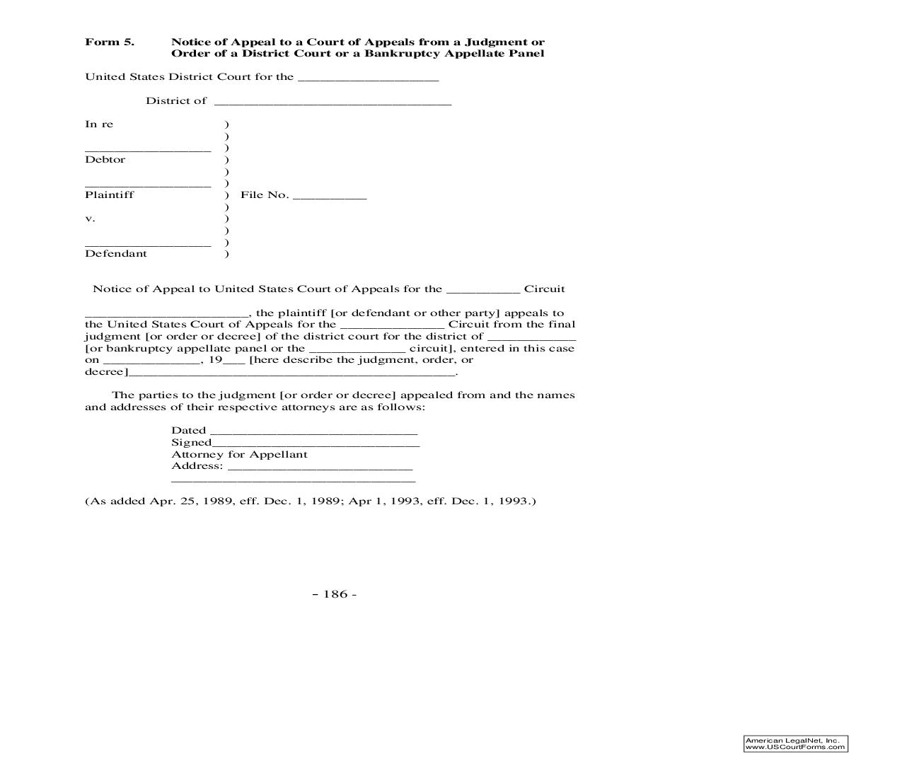 Form 5 Notice Of Appeal-Court Of Appeals-Judgment Or Order-District Court-Bankruptcy Appellate Panel {5}   Pdf Fpdf Doc Docx   Official Federal Forms
