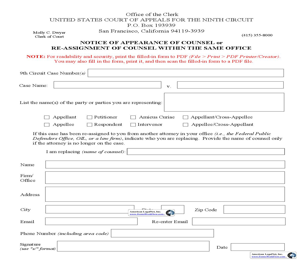 Notice Of Appearance Of Counsel Or Re-Assignment Of Counsel | Pdf Fpdf Doc Docx | Official Federal Forms