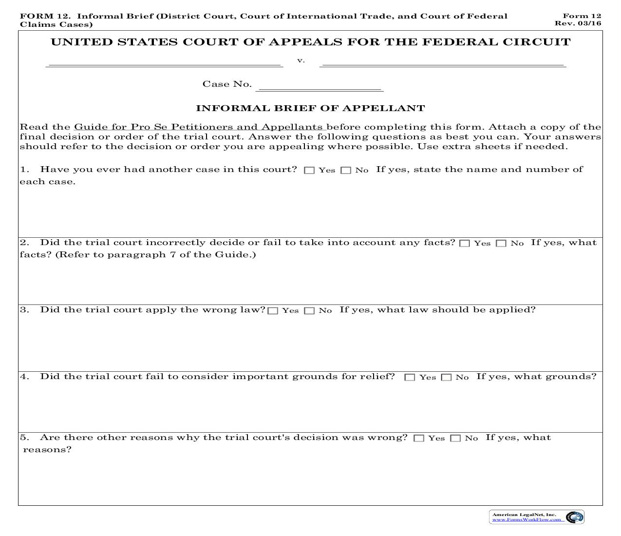 Form 12 Informal Brief (District Court Court of International Trade And Court of Federal Claims Cases) {12} | Pdf Fpdf Doc Docx | Official Federal Forms