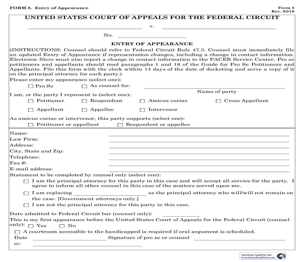 Form 8 Entry Of Appearance {8} | Pdf Fpdf Doc Docx | Official Federal Forms
