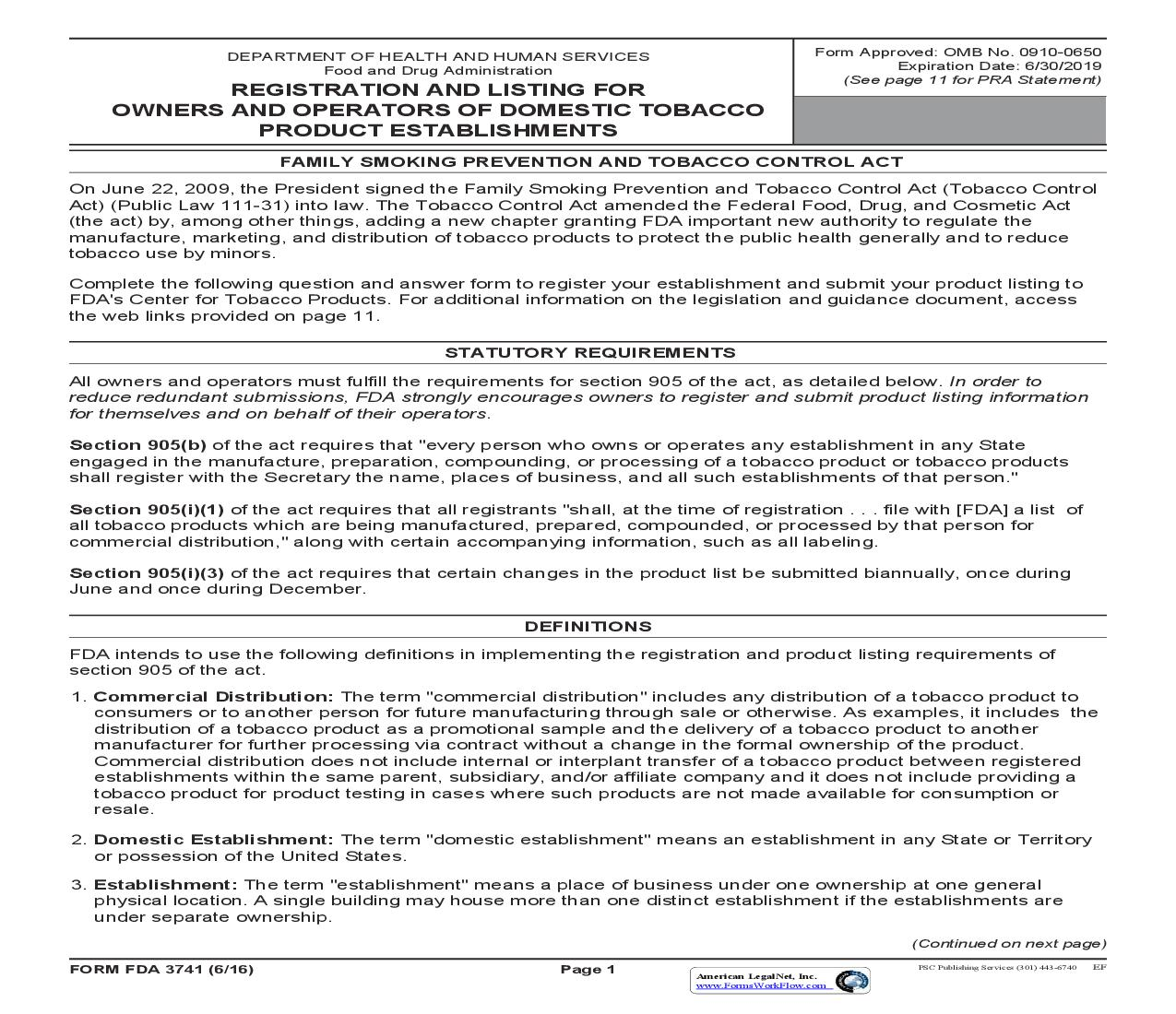 Registration And Listing For Owners And Operators Of Domestic Tobacco Product Establishments {FDA 3741} | Pdf Fpdf Doc Docx | Official Federal Forms