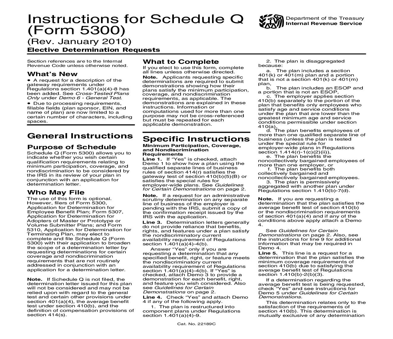 5300 (Schedule Q) Instructions {5300} | Pdf Doc Docx | Official Federal Forms