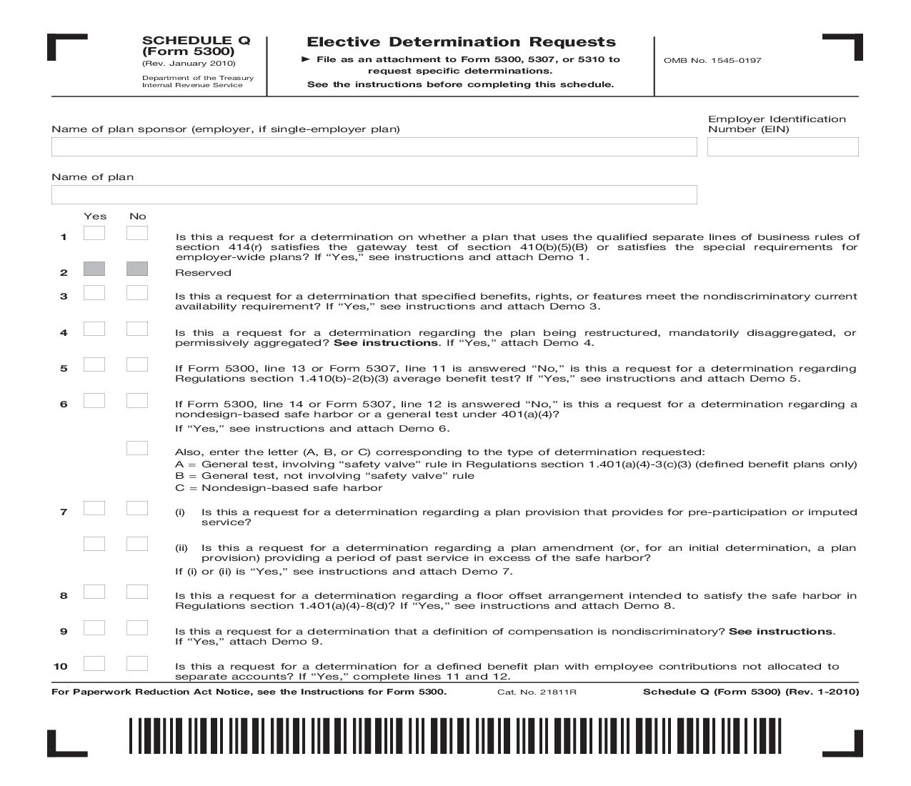 Form 5300 (Schedule Q) Elective Determination Requests {5300} | Pdf Fpdf Doc Docx | Official Federal Forms
