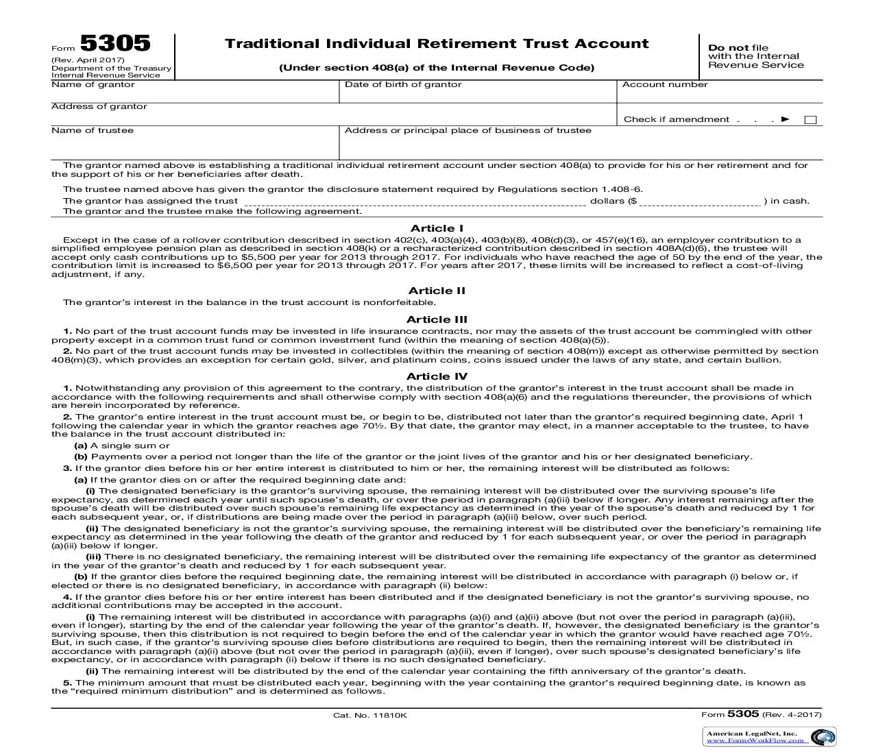Form 5305 Traditional Individual Retirement Trust Account {5305} | Pdf Fpdf Doc Docx | Official Federal Forms