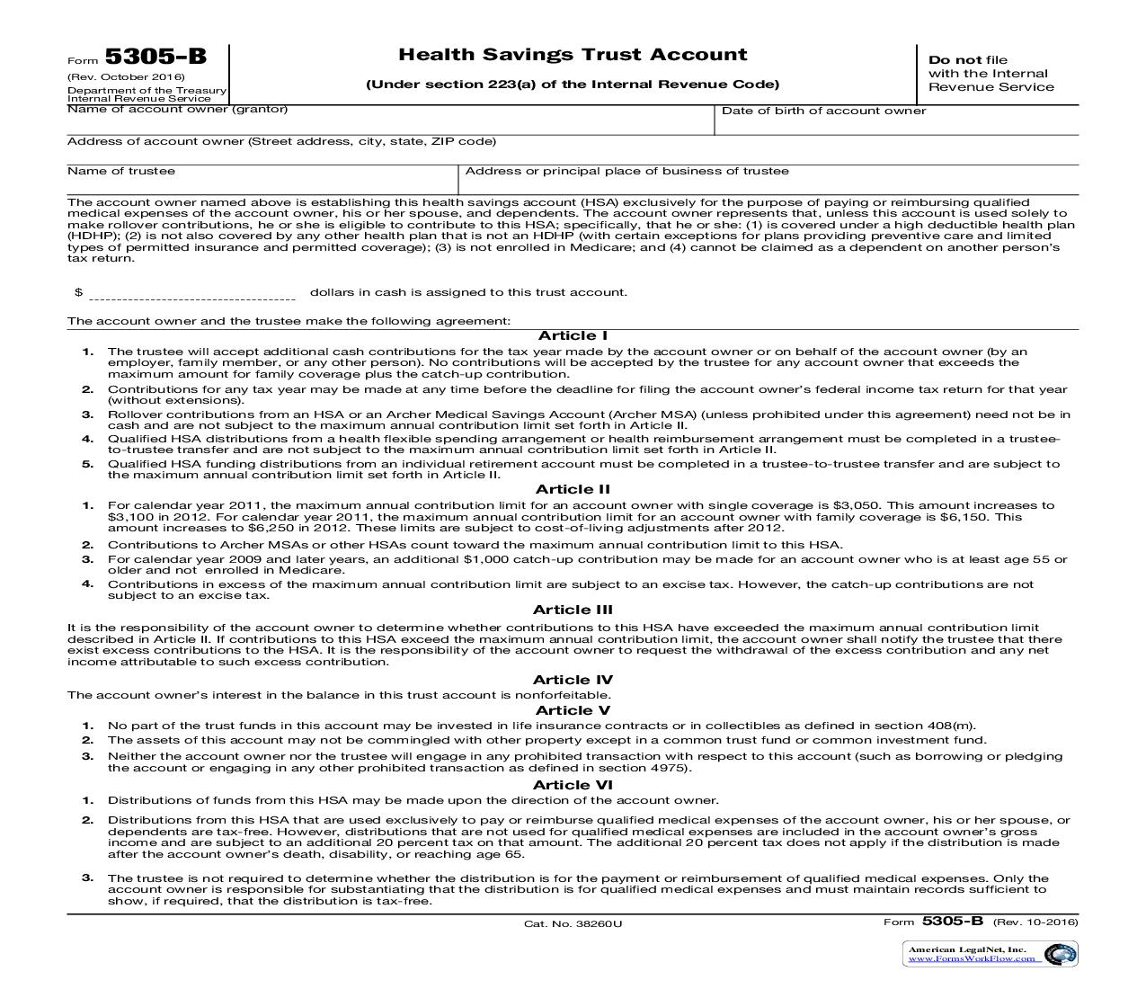 Form 5305-B Health Savings Trust Account {5305-B} | Pdf Fpdf Doc Docx | Official Federal Forms
