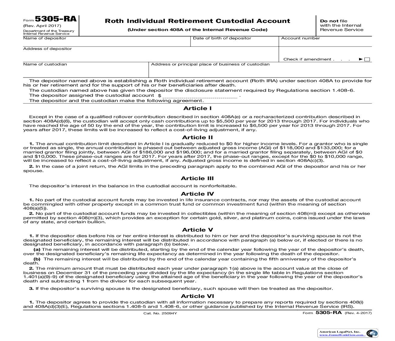 Form 5305-RA Roth Individual Retirement Custodial Account {5305-RA} | Pdf Fpdf Doc Docx | Official Federal Forms
